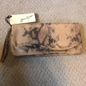 Junior drake Italian leather snakeskin clutch